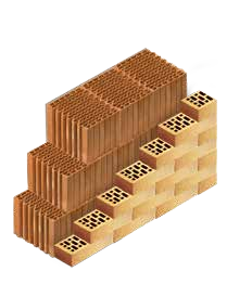 Кладка стены из керамических блоков KAIMAN 30 с лицевым кирпичом