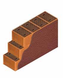 Кладка стены из керамических блоков KAIMAN 38 с декоративной фасадной штукатуркой