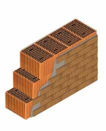 Кладка стены из керамических блоков KAIMAN 38 со штукатуркой и клинкерной плиткой